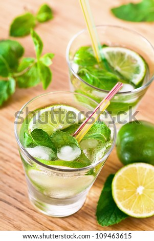 Mojito drink cocktail on the table - stock photo