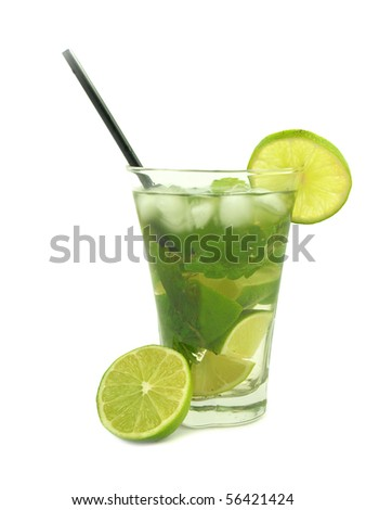 Mojito drink isolated on white background - stock photo