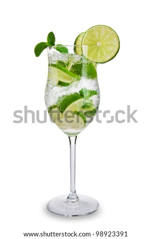 Mojito drink, isolated on white background - stock photo