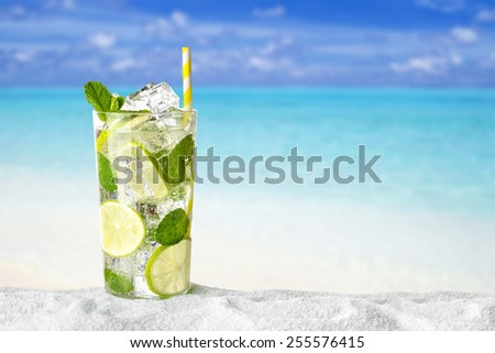 Mojito drink on beach  - stock photo