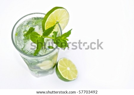 Mojito drink on white - stock photo