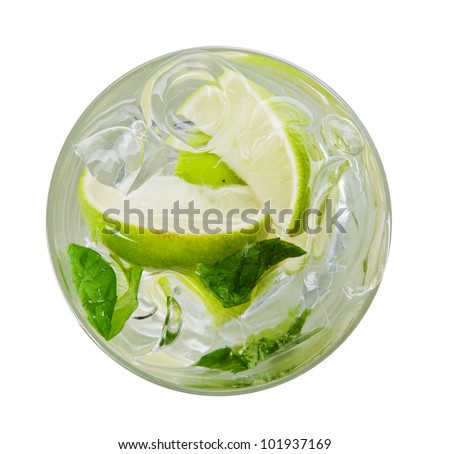 Mojito drink, top view, isolated on white background - stock photo