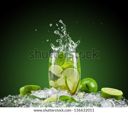 Mojito drink with splash - stock photo