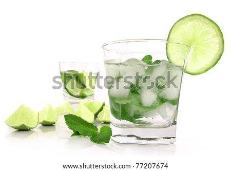 Mojito drinks isolated on white background