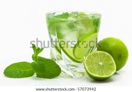 mojito isolated on white - stock photo