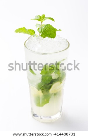 Mojito Lime Drink Cocktail  isolated on white background  - stock photo