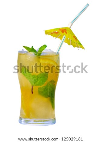 Mojito orange cocktail.isolated on white background. - stock photo
