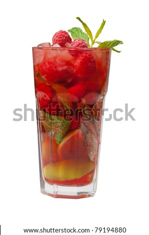 Mojito 	 raspberry  cocktail. closeup isolated on white background. - stock photo