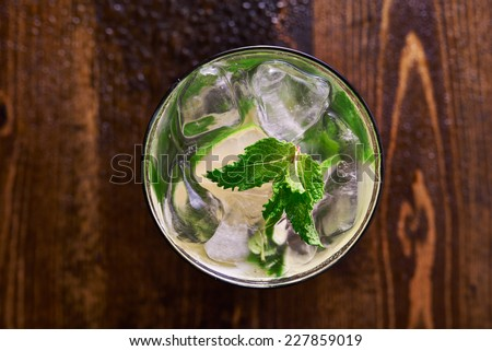 mojito shot from birds eye view - stock photo