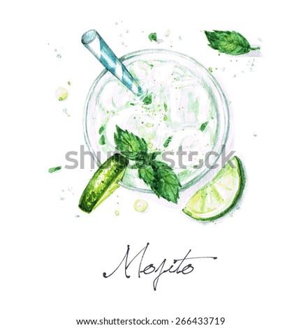 Mojito - Watercolor Food Collection - stock photo