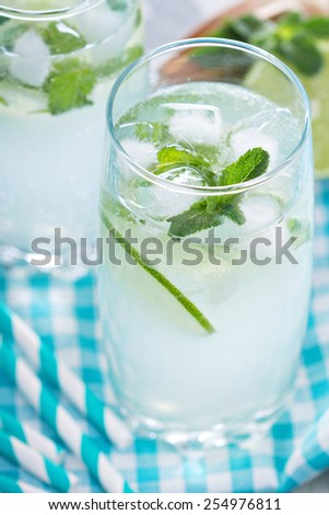 Mojito with lime and mint in tall glasses - stock photo