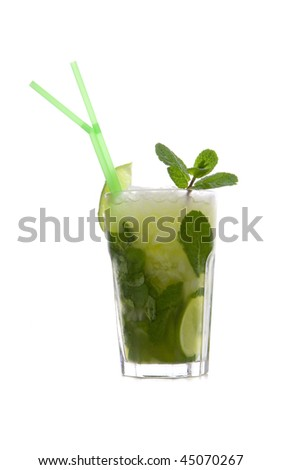 Mojito with lime and mint on white ground