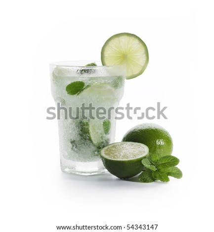 Mojito with limes and mint on White background - stock photo