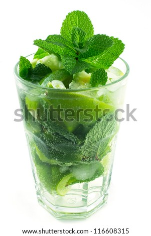 Mojito with mint isolated on white background