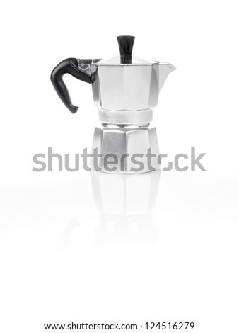 Moka Pot, also known as stove top espresso machine italian coffee maker on white background and reflection