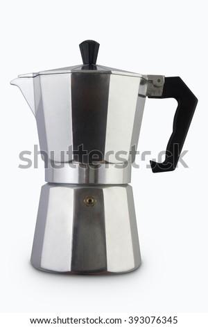 Mokapot coffee pot isolated on white background/Moka Coffee - stock photo