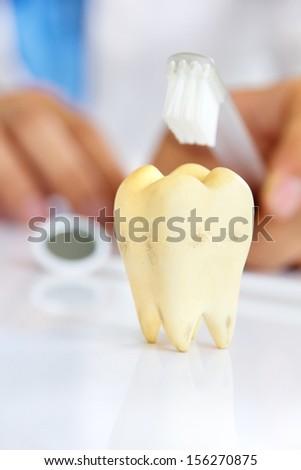 molar with dentist background, dental hygiene concept - stock photo