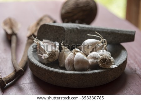 Molcajete - Stone Bowl and Pestle with garlic inside
