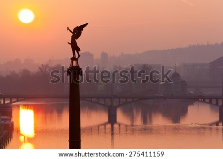 Moldau river, Lesser town, Prague (UNESCO), Czech republic - stock photo