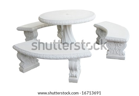Molded concrete table with clipping path