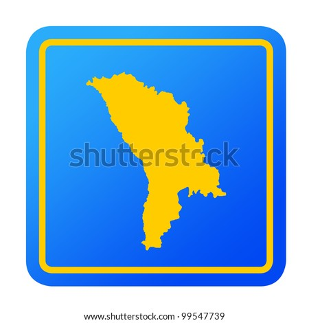 Moldova European button isolated on a white background with clipping path.