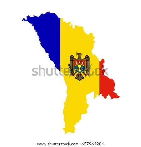 Moldova Flag Map Country Outline National Stock Illustration - Moldova map outline