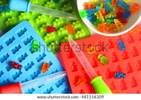 Molds and dropper for home made candies gummy bear