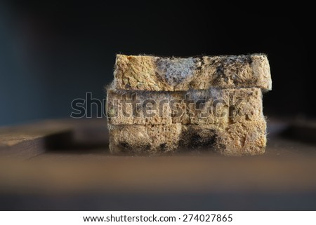 Moldy bread on the old wooden board - stock photo