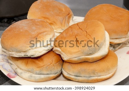 Moldy hamburger buns ready for the trash bin