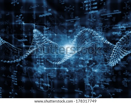 Molecular Dreams series. Abstract design made of conceptual atoms, molecules and fractal elements on the subject of biology, chemistry, technology, science and education - stock photo