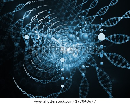 Molecular Dreams series. Composition of conceptual atoms, molecules and fractal elements suitable as a backdrop for the projects on biology, chemistry, technology, science and education