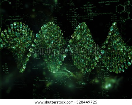Molecular Dreams series. Creative arrangement of conceptual atoms, molecules and fractal elements to act as complimentary graphic for subject of biology, chemistry, technology, science and education - stock photo