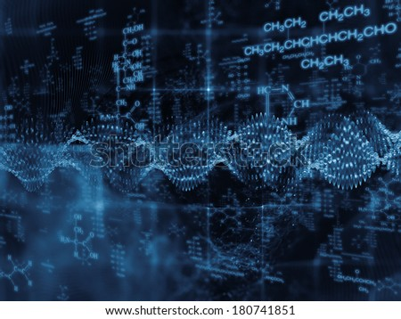 Molecular Dreams series. Interplay of conceptual atoms, molecules and fractal elements on the subject of biology, chemistry, technology, science and education - stock photo