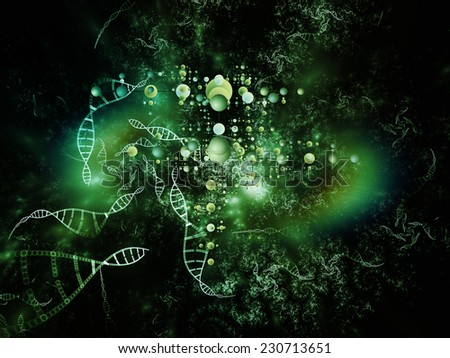 Molecular Dreams series. Visually attractive backdrop made of conceptual atoms, molecules and fractal elements suitable as element for layouts on biology, chemistry, technology, science and education