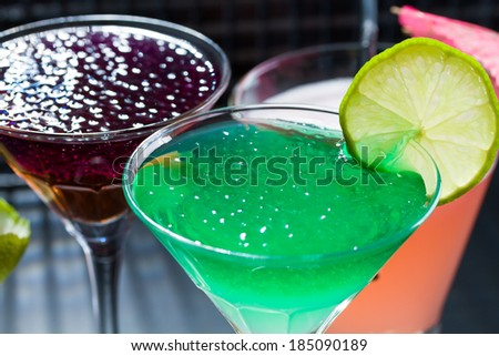 Molecular mixology - whisky, strawberry, passion and mint Cocktail with  caviar  - stock photo