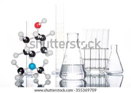Molecular Structure and Beaker on white background - stock photo