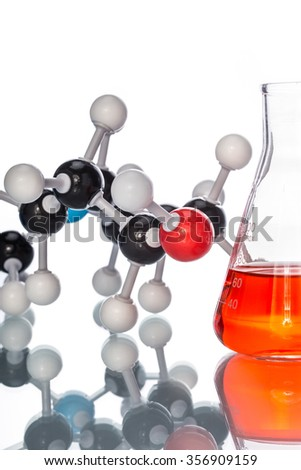 Molecular Structure and the liquid in beaker on white background - stock photo