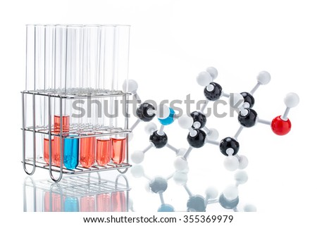 Molecular Structure and the liquid in Test Tube on white background - stock photo