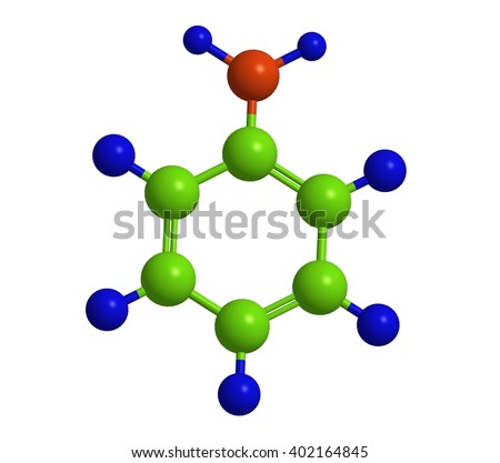 Molecular structure of aniline - toxic organic compound. 3D rendering.