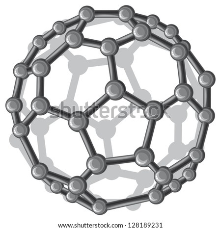 molecular structure of the C60 buckyball (nanostructure fullerene C60 sticks molecular model) - stock photo
