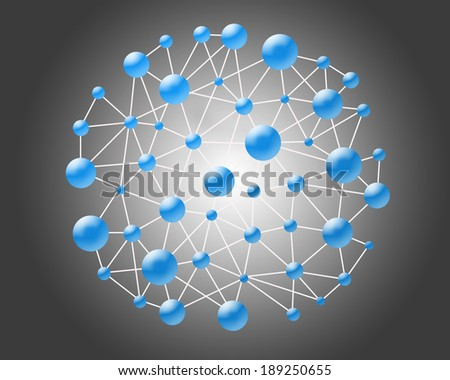 molecular structure on the gray background - stock photo