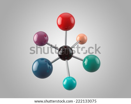 Molecular structure with 7 atoms - stock photo