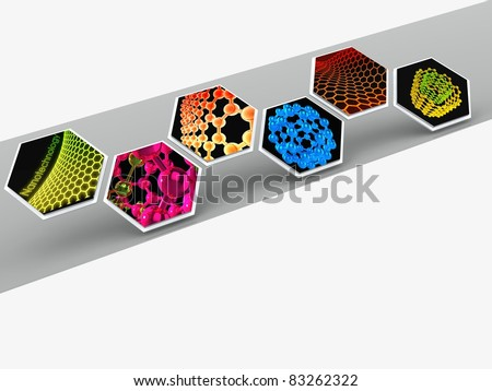 molecular structures placed in benzene rings on gray background - stock photo