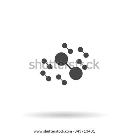 Molecule atom. Flat icon on grey background with shadow