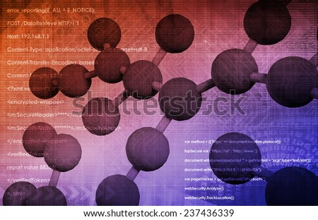 Molecule DNA Cell in Wireframe Mesh Art - stock photo