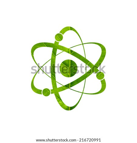 Molecule icon made of green leaf isolated on white background - stock photo