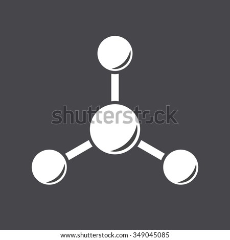Molecule icon on dark gradient backgound, abstract structure, 2d raster - stock photo