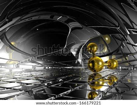 molecule in futuristic space - 3d illustration - stock photo