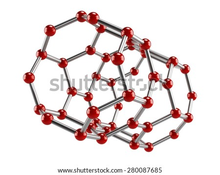 Molecule model with red and silver color tones isolated on white background