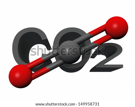 molecule  of carbon dioxide - stock photo